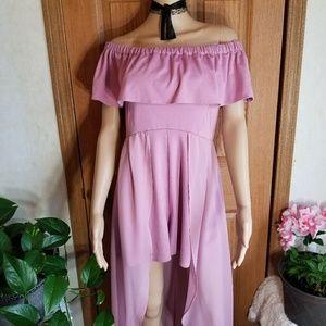 Pink off shoulder dress Romper Jumpsuit